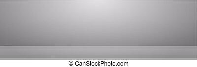White with gray panoramic studio background with white glow
