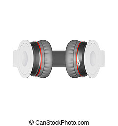 White with gray wireless headphones isolated on white 3d illustration render