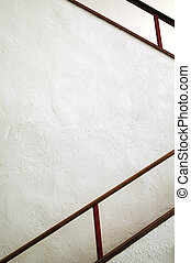 white with red interior staircase handrail
