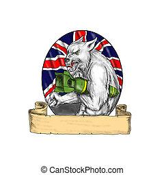 White Wolf Holding Bomb British Flag Tattoo