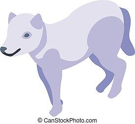 White wolf icon, isometric style