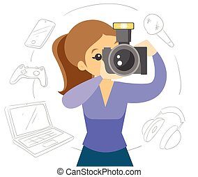 White woman making a photo with modern camera