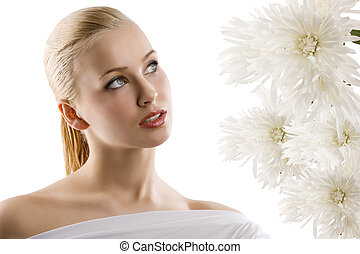 white woman with flower
