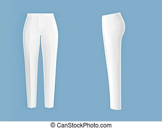 White womens pants realistic isolated vector - Shiny clean...