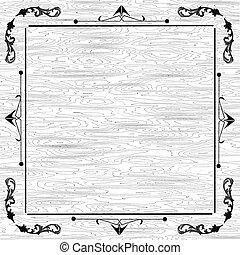 White wood background floral frame
