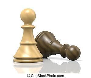 Defeat - White Wood Chessman Defeat Black Chessman on White...