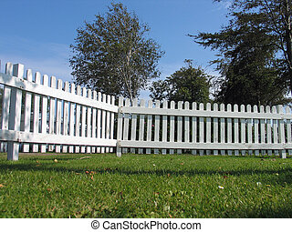 White wood fence - White traditional wood fence taken from...