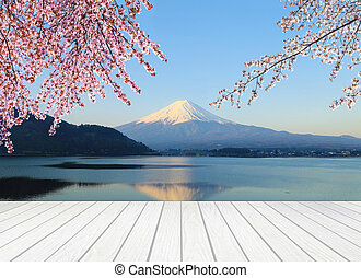 white wood terrace with Mt Fuji