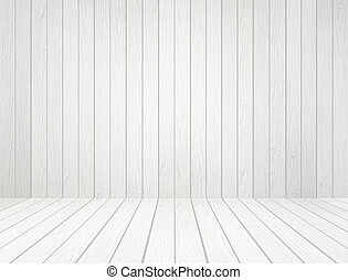 white wood wall and wood floor background - room interior...