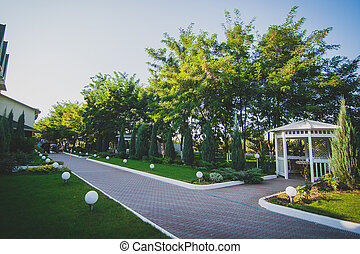 White wooden arbor on the street in a green park. A cozy place to spend time