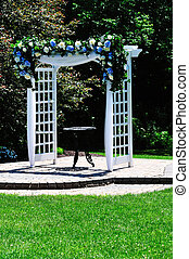 arch gate - white wooden arch gate in the garden