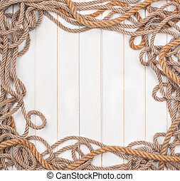 white wooden background is with ropes