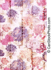white wooden background with colorful floral pattern