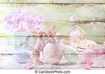white wooden background with colorful easter pattern