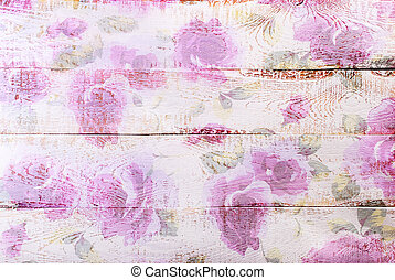 white wooden background with floral pattern