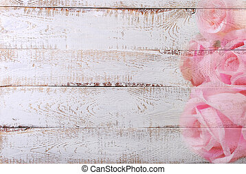 white wooden background with rose pattern border - white...
