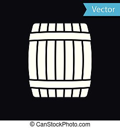White Wooden barrel icon isolated on black background. Vector Illustration