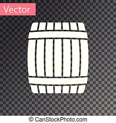 White Wooden barrel icon isolated on transparent background. Vector Illustration