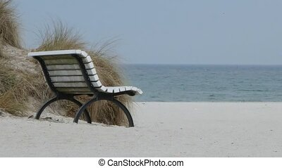 White wooden bench on the beach