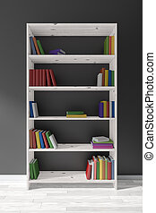 White wooden bookcase with many books