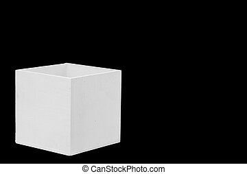 White wooden box on a black background