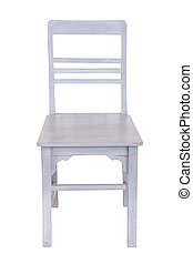 White wooden chair isolated.