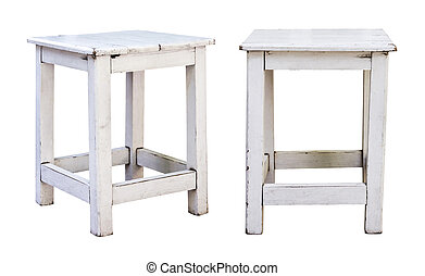 White wooden chair on white background