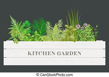 White wooden crate of farm fresh cooking herbs with labels...