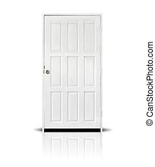 White Wooden Door Isolated on White Background