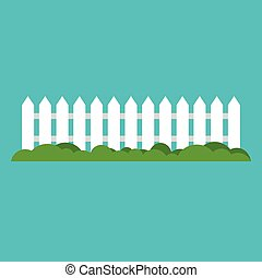 White wooden fence and grass.