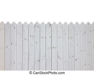 White wooden fence isolated on white background with copy space