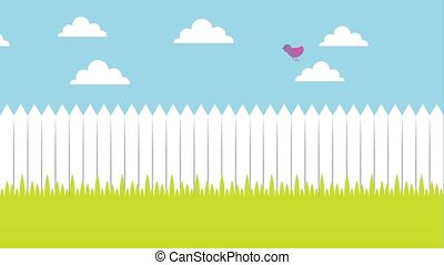 white wooden fence meadow birds flying in the sky animation