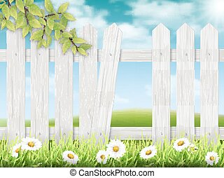 White wooden fence with broken plank