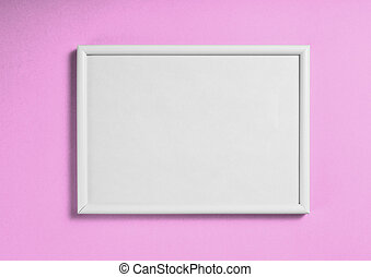 White wooden frame for painting or picture on pink background.