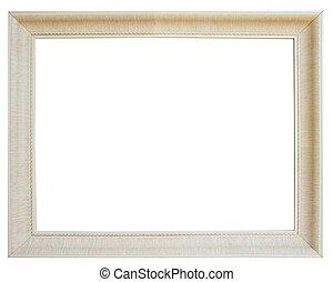 White wooden frame isolated on white background