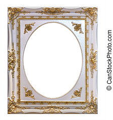 white wooden frame isolated with clipping path