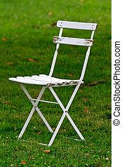 White wooden garden chair