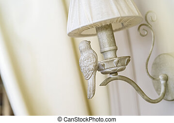 White wooden lamp on wall interior decoration