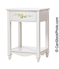 White wooden nightstand isolated