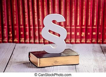 White wooden paragraph the symbol of law in court library...
