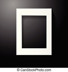 White wooden photo frame on black background. Home decoration and interior concept. Vector illustration