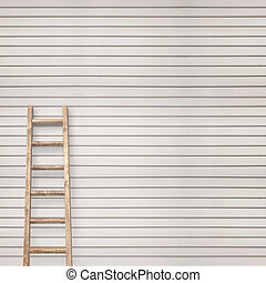 wooden plank wall with ladder