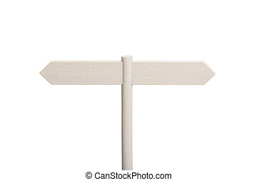 White Wooden sign post with two blank boards pointing in different directions isolated on white background. Mock up