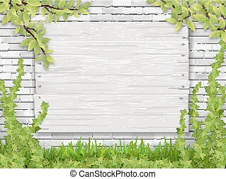 white wooden sign tree branch white brick wall