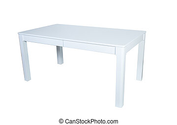 White wooden table isolated on white background