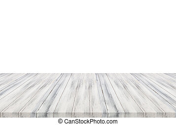 White wooden table top isolated on white background
