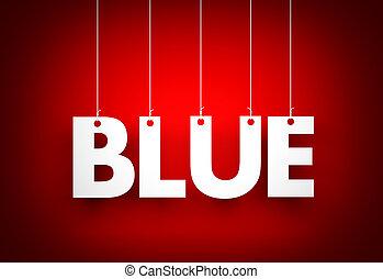 White word Blue on red background. 3d illustration
