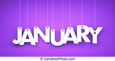 White word January on purple background. New year illustration. 3d illustration