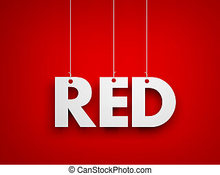 White word RED on red background