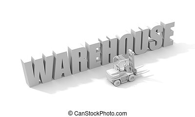 White word warehouse with forklifts. 3d illustration